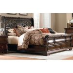 Brown Traditional King Size Sleigh Bed – Arbor Place