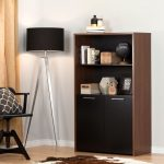 Brown Walnut and Pure Black Storage Bookcase with Doors – Tasko