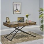 Brown Wooden Adjustable Height Sit or Stand Work Desk