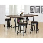 Brown and Metal 5 Piece Dining Set with Wine Rack- David Collection