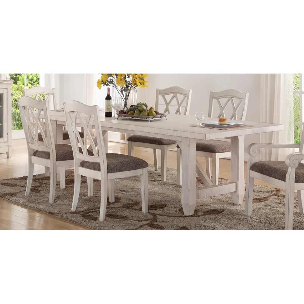 Brushed White Trestle Style Dining Table Scottsdale Collection