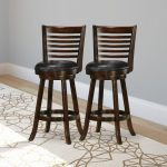 Cappuccino Stained Bar Height Barstool Set of 2