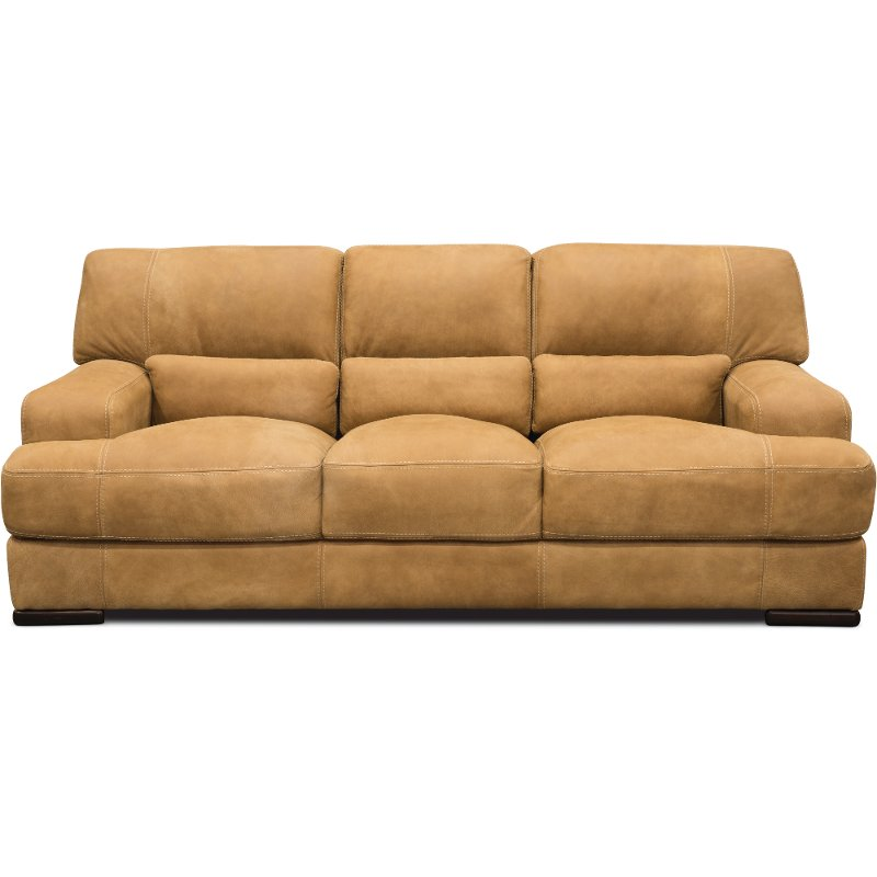 Casual Contemporary Palomino Brown Leather Sofa – Stallone ...