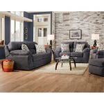 Casual Contemporary Steel Blue Sofa & Loveseat Set – Imprint