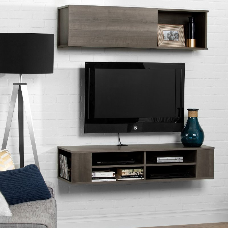 This Modern Looking 48 Inch Wall Mounted Charcoal Brown Tv Stand And Storage Unit From Rc Willey Will Open Up Your Living Room E Give It A Superb