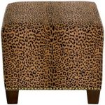 Cheetah Earth Square Nail Button Ottoman