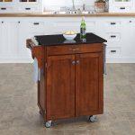 Cherry/Black Granite Kitchen Cart