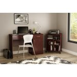 Cherry Brown Desk with Keyboard Tray and Printer Stand – Axess