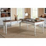 Cherry Brown and White L Shaped Office Desk – Durham