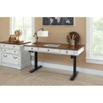 Cherry Brown and White Sit and Stand Desk – Durham