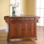 Cherry Granite Top Kitchen Cart