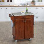Cherry/Gray Granite Kitchen Cart