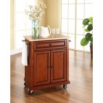 Cherry Wood Top Portable Kitchen Cart