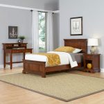 Chesapeake Cherry Twin Bed, Nightstand, and Student Desk with Hutch