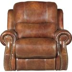 Chestnut Brown Leather-Match Manual Glider Recliner – Nailhead