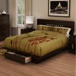 Chocolate Full/Queen Platform Bed and Headboard Set – Holland