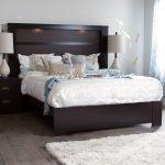 Chocolate Platform Bed with Headboard – Gloria