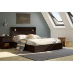 Chocolate Queen Platform Bed with 2 Drawers (60 Inch) – Basic