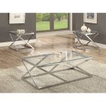 Chrome and Glass 3 Piece Coffee Table Set