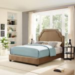 Classic Camel Brown King Upholstered Bed – Loren