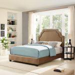 Classic Camel Brown Queen Upholstered Bed – Loren