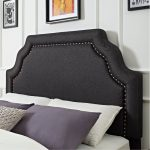 Classic Charcoal Gray Full-Queen Upholstered Headboard – Loren