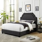 Classic Charcoal Gray King Upholstered Bed – Loren