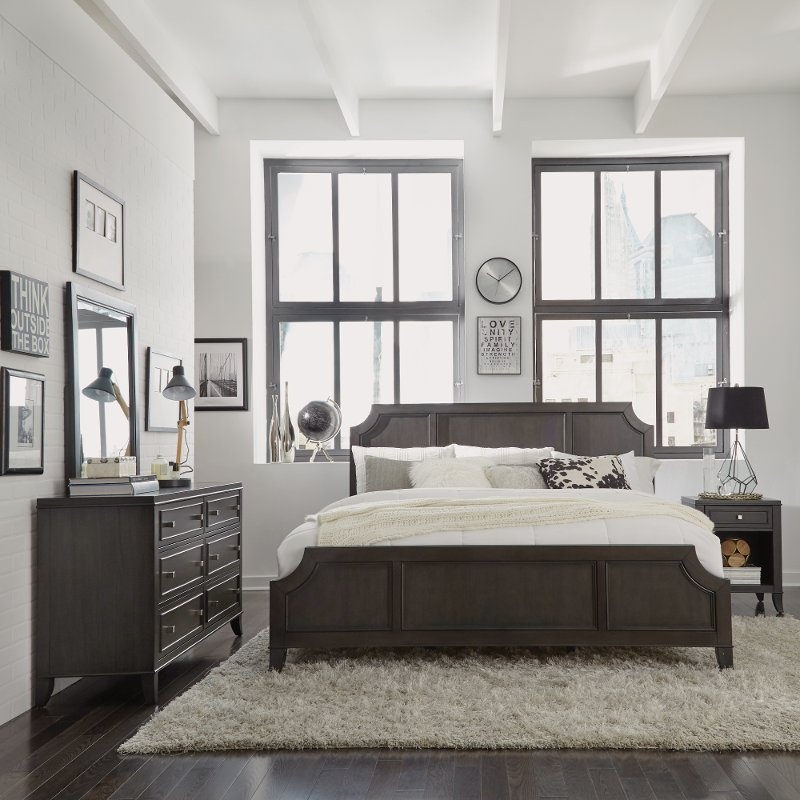 classic contemporary gray 6piece king bedroom set  5th