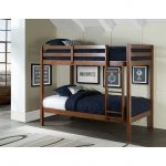 Classic Contemporary Walnut Twin-over-Twin Bunk Bed – Caspian
