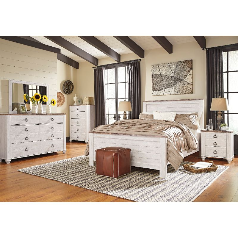 Classic Rustic Whitewashed 6-Piece Queen Bedroom Set – Millhaven ...