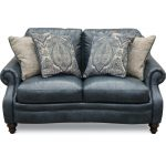 Classic Traditional Navy Blue Leather Loveseat – Admiral