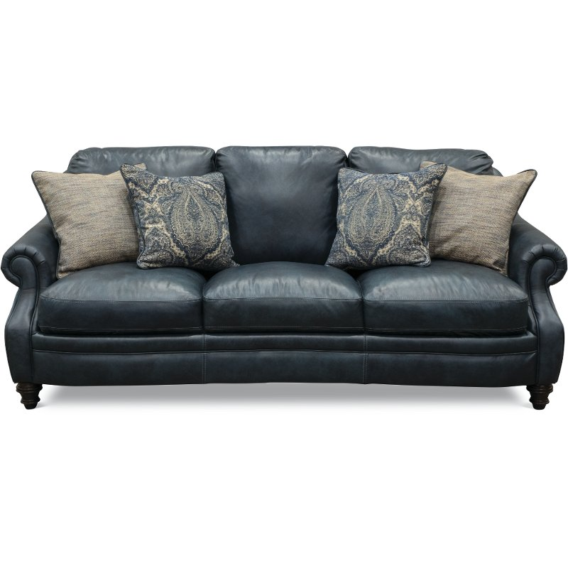 Classic Traditional Navy Blue Leather Sofa – Admiral ...