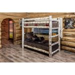Clear Lacquered Log Twin over Twin Bunk Bed – Montana
