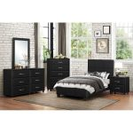 Contemporary Black 6 Piece Twin Bedroom Set – Lorenzi
