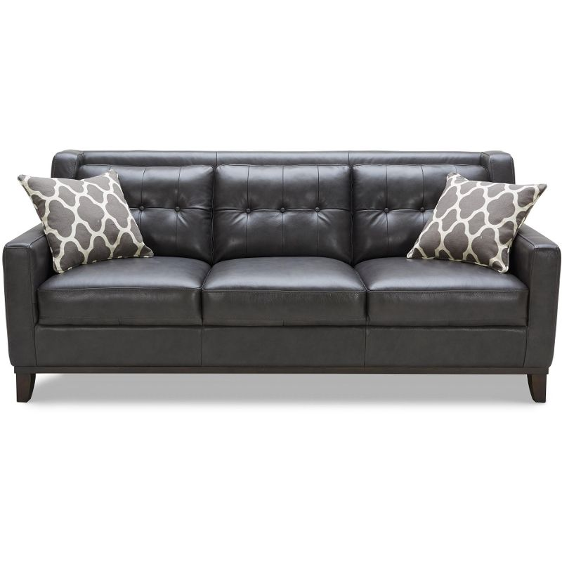 Sensational Contemporary Charcoal Leather Sofa Nigel Everything Home Alphanode Cool Chair Designs And Ideas Alphanodeonline