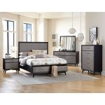 Contemporary Gray and Black 6-Piece California King Bedroom Set – Raku