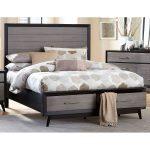 Contemporary Gray and Black California King Storage Bed – Raku