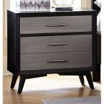 Contemporary Gray and Black Nightstand – Raku