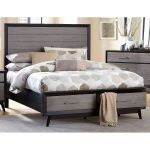 Contemporary Gray and Black Queen Storage Bed – Raku