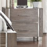 Contemporary Gray and Silver Nightstand – Buena Vista