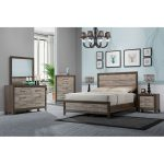 Contemporary Two-Tone Walnut 6-Piece California King Bedroom Set.