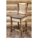 Counter Height Barstool w/ Back – Saddle Upholstery