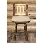 Counter Height Barstool w/ Back & Swivel – Buckskin Upholstery