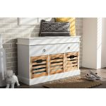 Country White and Natural 5-Drawer Storage Bench