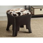 Cow Print and Brown Faux Leather Stool