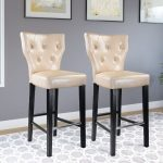 Cream Leather Transitional Bar Stool (Set of 2)