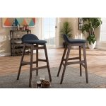 Dark Blue Fabric and Walnut Wood 30 Inch Barstools
