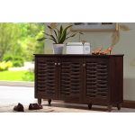 Dark Brown 3 Door Shoe Storage Cabinet
