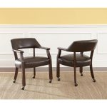 Dark Brown Dining Arm Chair with Casters – Morris Collection