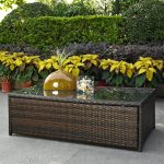 Dark Brown Outdoor Wicker Glass Top Table – Palm Harbor